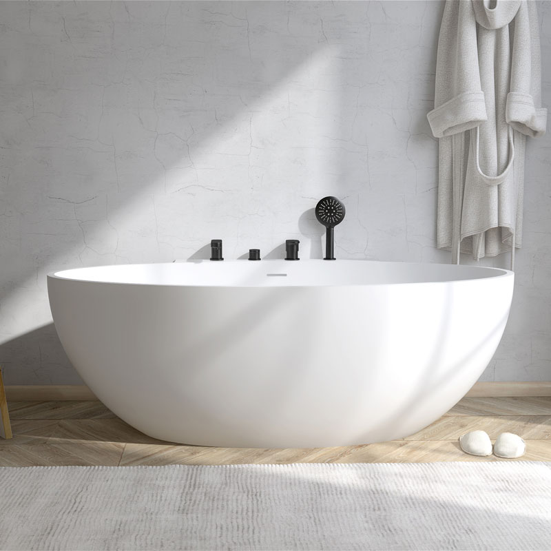 Solid surface stone resin freestanding bath