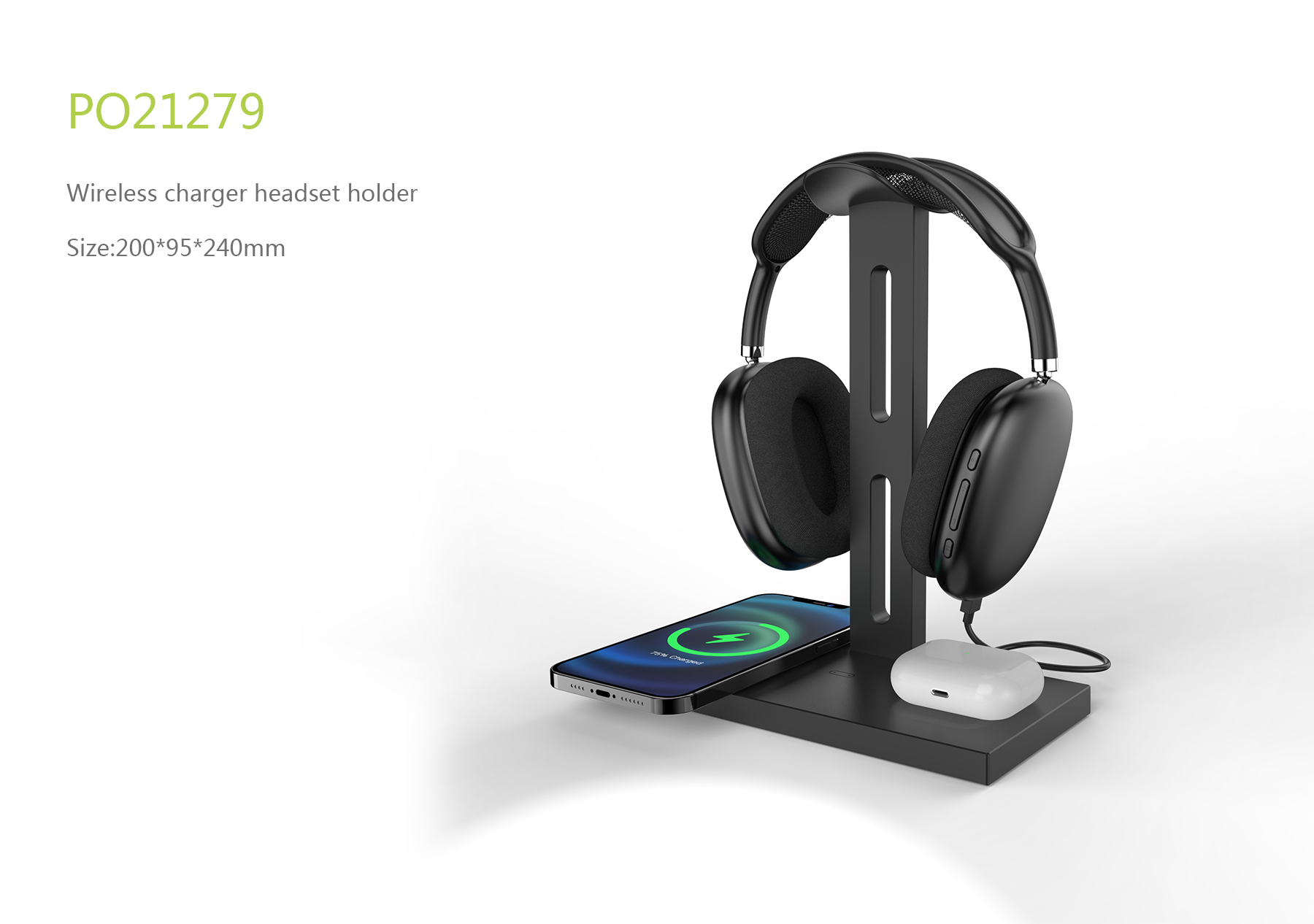 Wireless charger headset holder