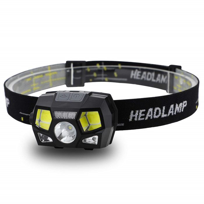 Adjustable 5-mode LED USB rechargeable waterproof infrared motion sensor headlamp